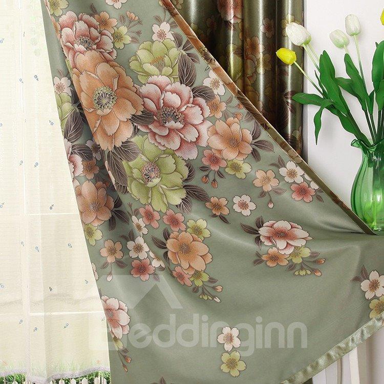 Green Beautiful Floral Patterns Grommet Top Custom Curtain