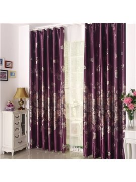 High Quality Amazing Purple Beautiful Floral Patterns Grommet Top Curtain