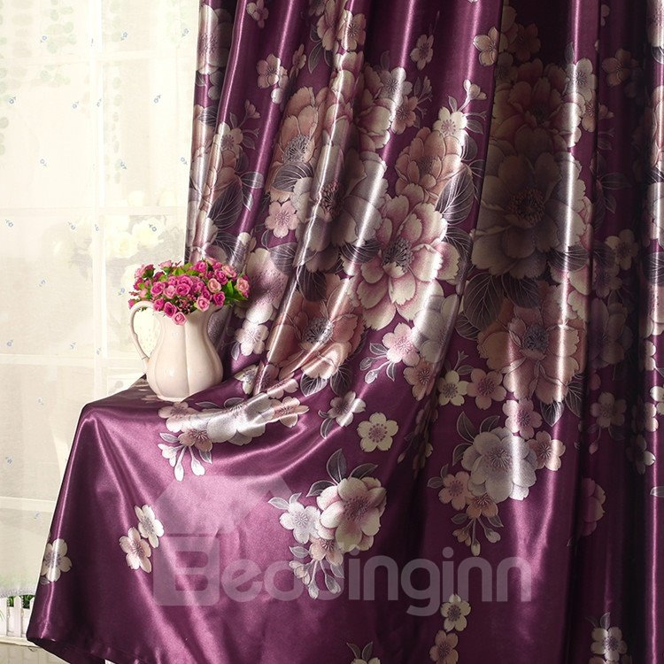 Shining Color Floral Printing Purple Grommet Curtain