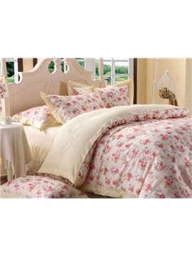 Comfortable Fresh Color Floral Print 4-Piece Duvet Cover Sets
