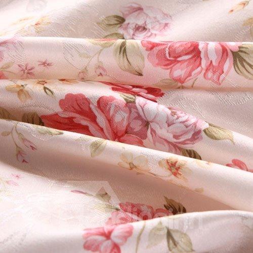 Comfortable Fresh Color Floral Print 4-Piece Duvet Cover Sets