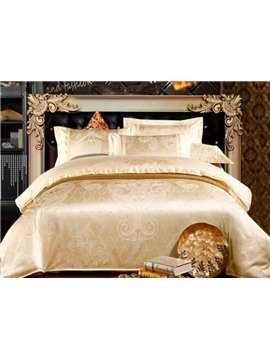 Luxury Light Golden Floral Pattern 100% Cotton 4-Piece Duvet Cover Sets