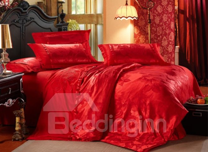 Brilliant Red Flower Pattern 100% Cotton 4-Piece Duvet Cover Sets