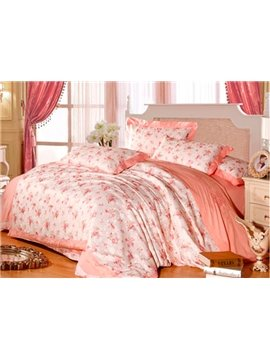 Splendid Floral Pattern 100% Cotton 4-Piece Duvet Cover Sets