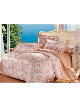 Top Class Floral Pattern 100% Cotton 4-Piece Duvet Cover Sets