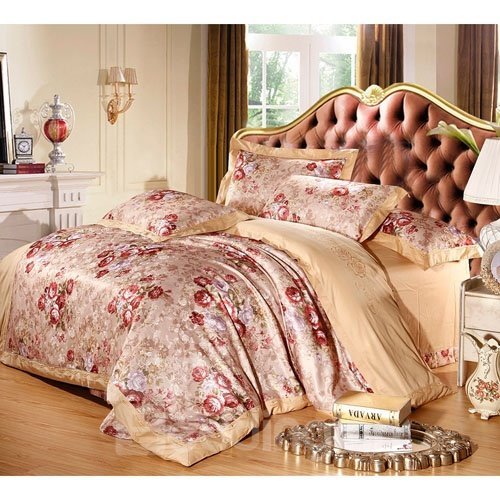 Luxury Blooming Flowers Print 100% Cotton 4-Piece Duvet Cover Sets