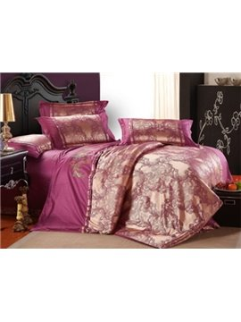 Magnificent Purple Eding Trim 100% Cotton 4-Piece Duvet Cover Sets
