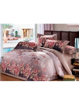 Very Soft Flower Trim Edging 4-Piece Duvet Cover Sets