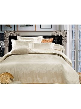 Comfortable Satin Jacquard Flower Print 4-Piece Duvet Cover Sets