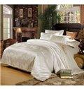 Comfortable Satin Jacquard Flower Print 4-Piece Duvet Cover Sets