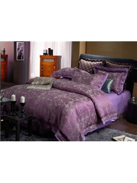 Luxury Purple Floral Pattern Soft Cotton 4-Piece Duvet Cover Sets