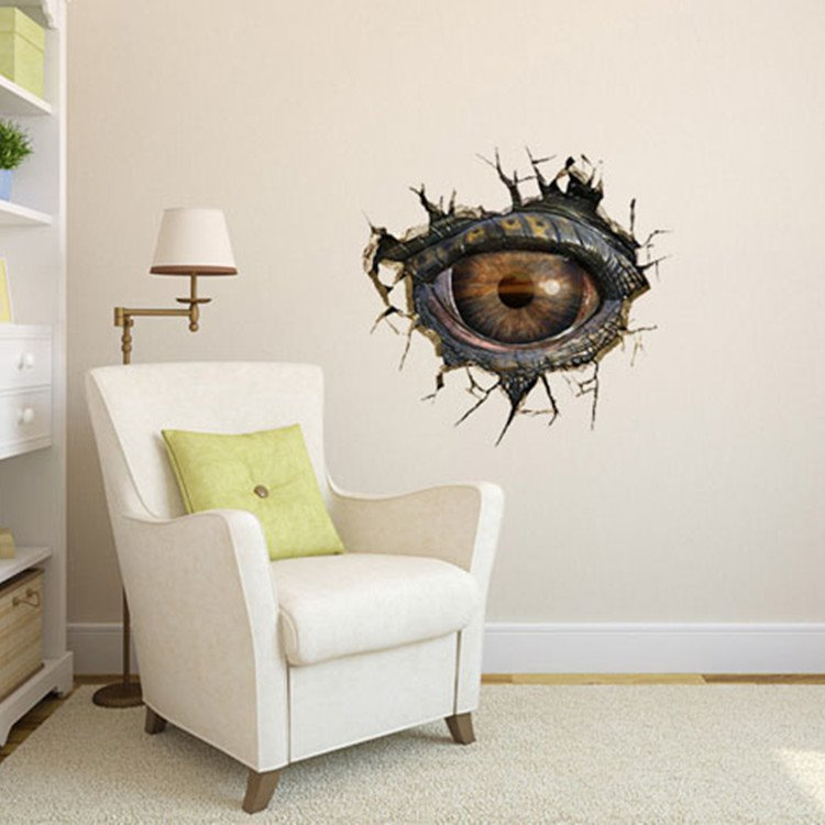 Stunning Creative 3D Dinosaur Eye Pattern Wall Sticker