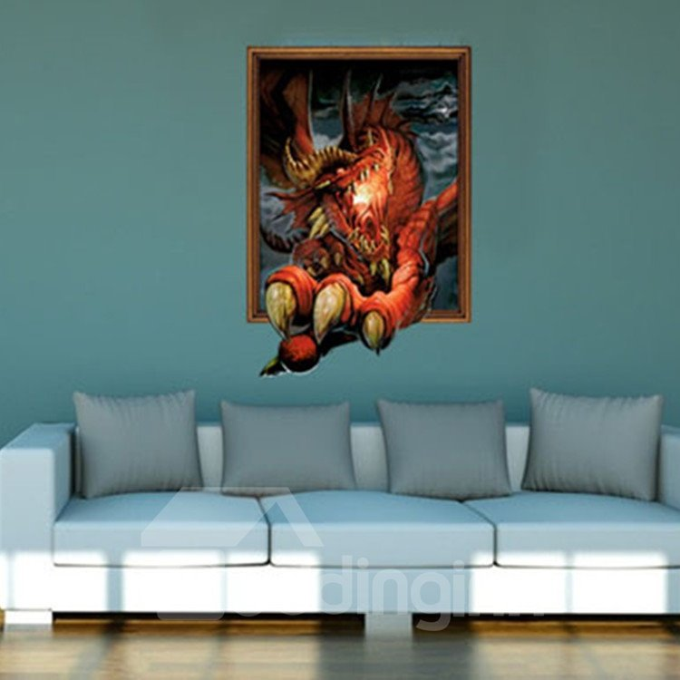 New Arrival Amazing 3D Fire Dinosaur Wall Sticker