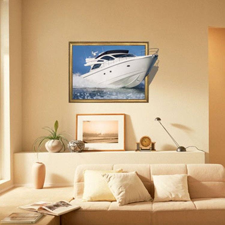 New Arrival Amazing 3D Yacht Wall Sticker