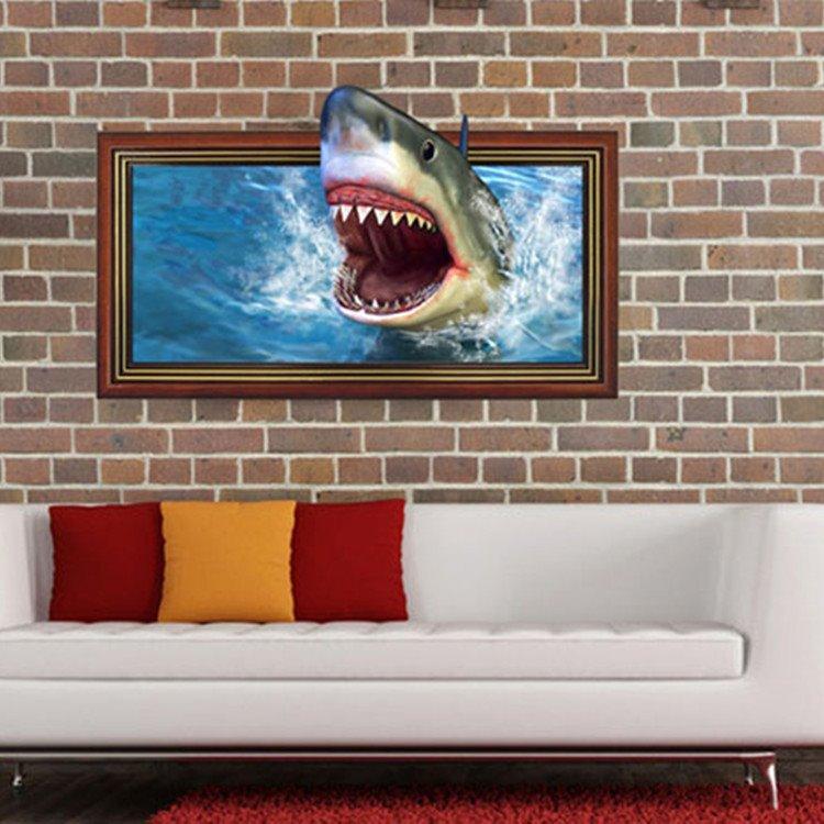 Stunning Creative Shark Mouth Pattern 3D Wall Sticker