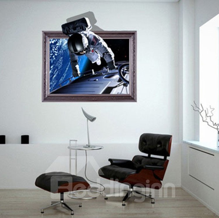 Creative Amazing Astronaut in Space Print 3D Wall Sticker