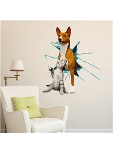New Arrival Cute 3D Cat and Dog Wall Sticker