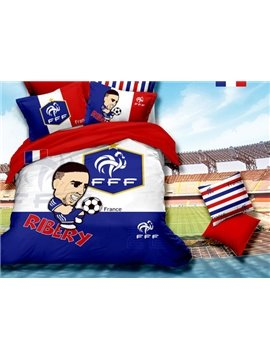 World Cup and Cartoon Figure Print 4-Piece Duvet Cover Sets