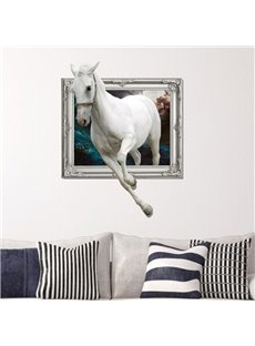 Amazing Creative 3D White Horse Wall Sticker