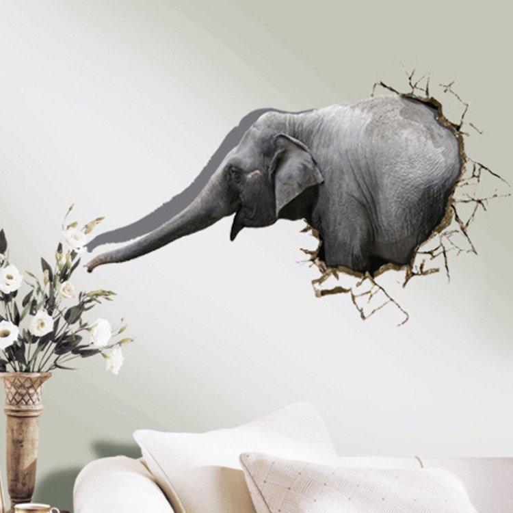 Amazing Creative Elephant Pattern 3D Wall Sticker