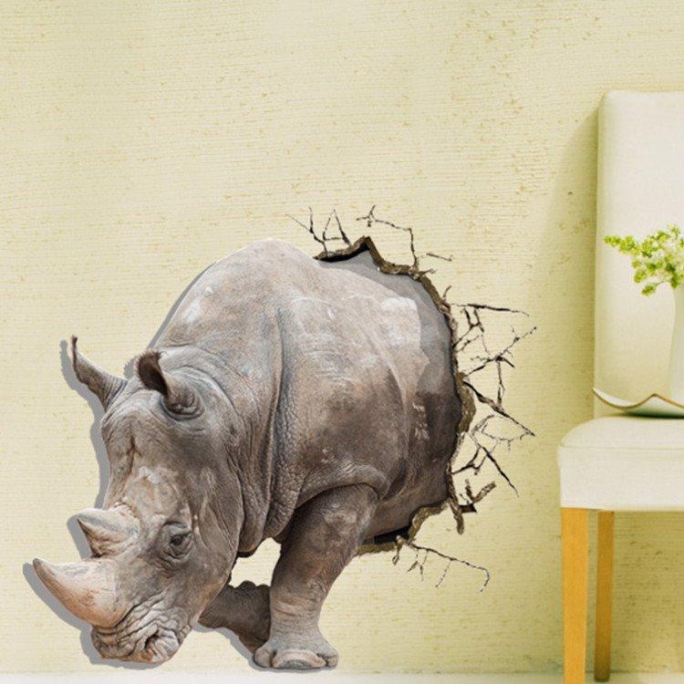 Alluring Creative 3D Rhino Wall Sticker