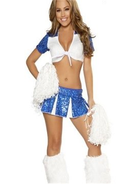 Fancy Two-pieces Blue Cheerleading Costume for World Cup