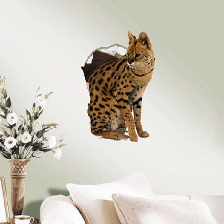 Amazing Style Creative Serval Pattern Home Decorative 3D Wall Sticker