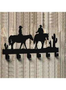 Contemporary Black West Cowboy Pattern Stainless Steel Wall Hooks