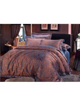 Paisley Flower Print Satin Jacquard 4-Piece Duvet Cover Sets