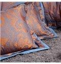 Paisley Flower Print Satin Jacquard 4-Piece Duvet Cover Sets