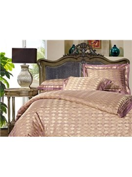 Top Class Lozenge Pattern Satin Jacquard 4-Piece Duvet Cover Sets
