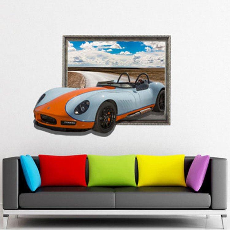 Stunning Stylish 3D Sports Car Wall Sticker