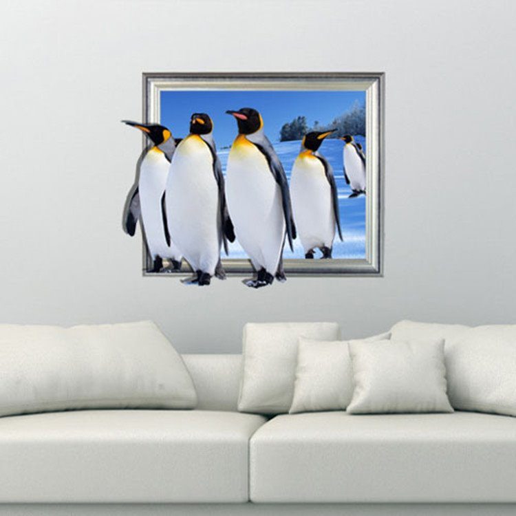Lovely Cute Penguins Pattern Decorative 3D Wall Sticker