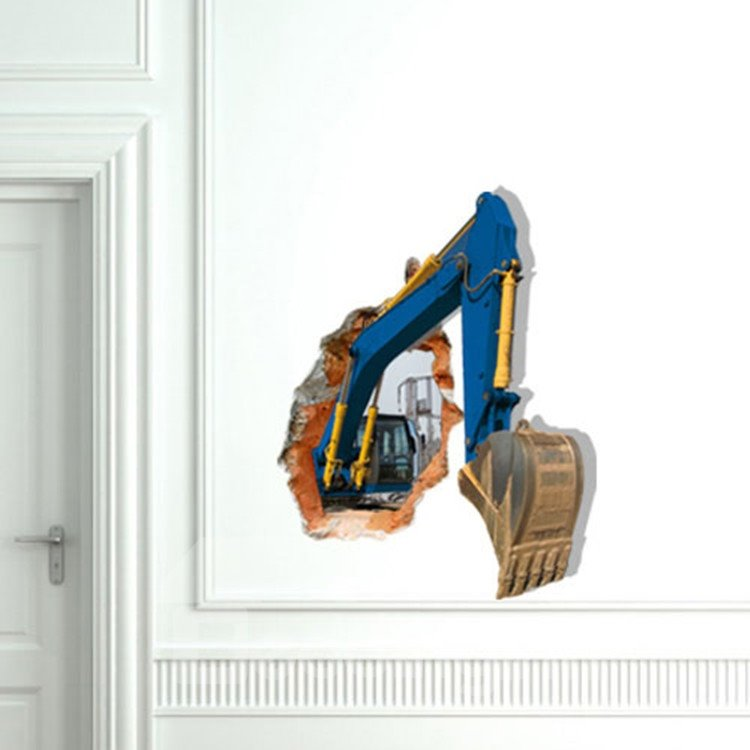 New Style Alluring 3D Excavator Wall Sticker