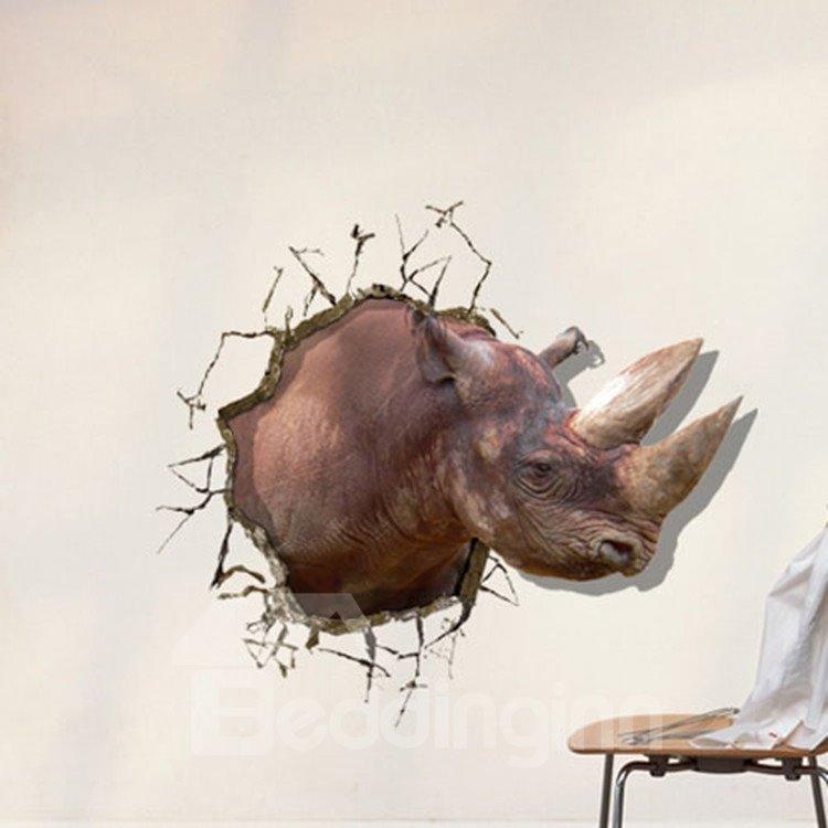 New Style Fancy Creative 3D Rhino Wall Sticker