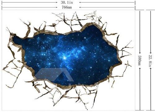 Blue Alluring Creative 3D Broken Starry Sky Scenery Wall Sticker