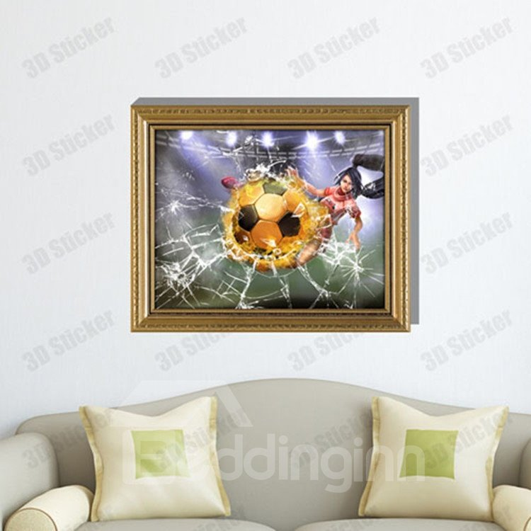 Amazing Creative 3D Football Girl Wall Sticker