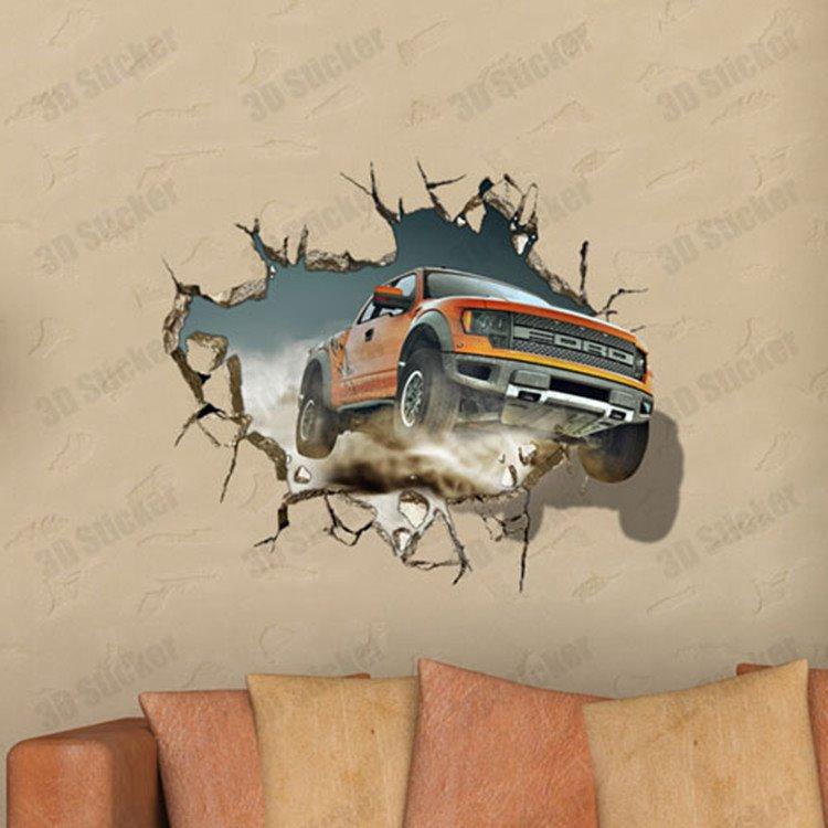 Stunning Creative 3D Broken Hole Car Pattern Wall Sticker