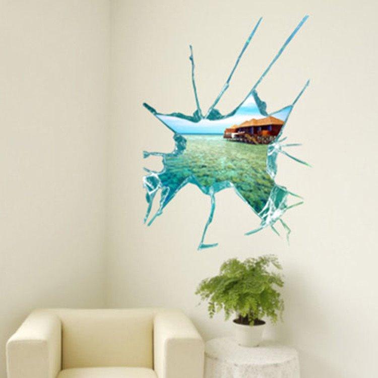 Amazing Creative 3D Pretty Seascape Wall Sticker