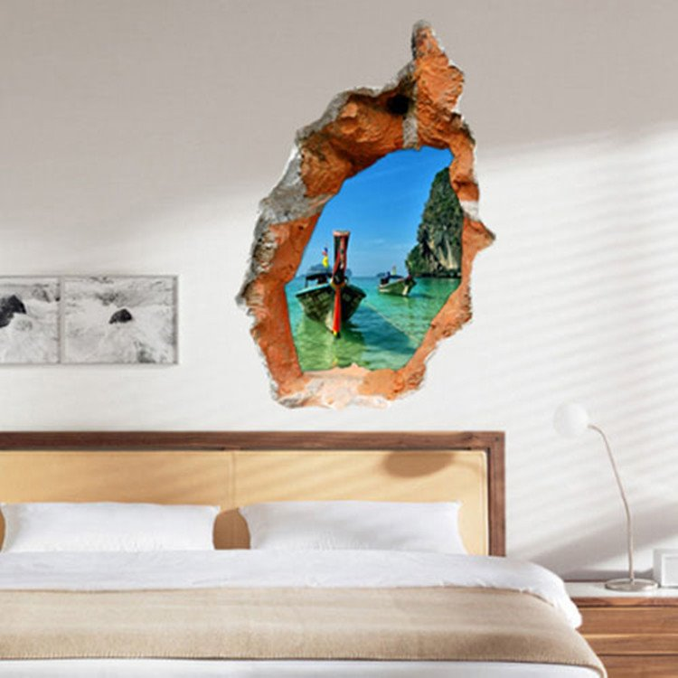 Creative PVC Broken Hole Ocean Scenery 3D Wall Sticker