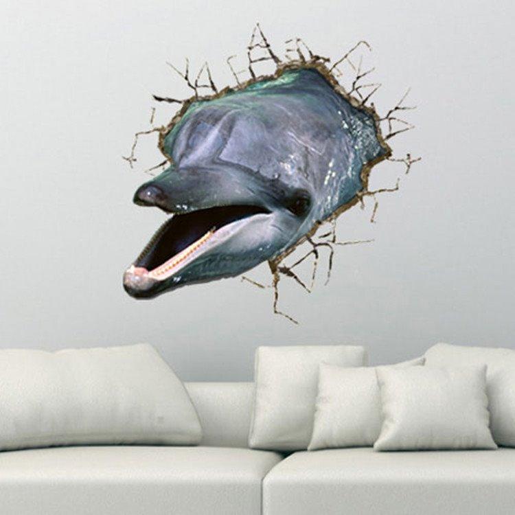 Alluring Creative Broken 3D Dolphin Pattern Wall Sticker