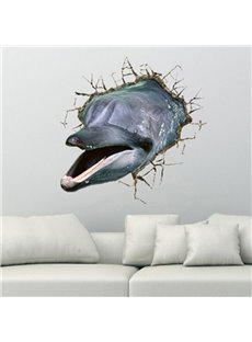 Alluring Creative Broken 3D Dolphin Pattern Wall Sticker