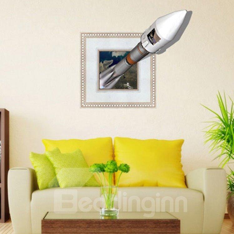 Alluring Creative 3D Rocket Wall Sticker