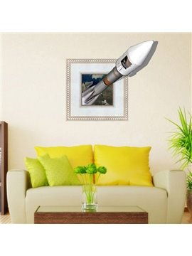 Alluring Creative 3D Rocket Wall Sticker