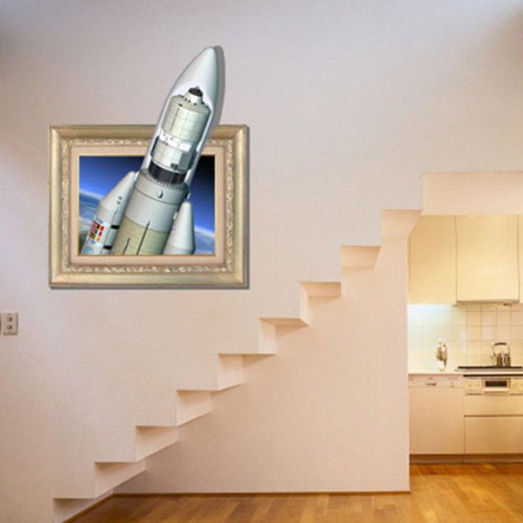 Amazing Creative 3D Rocket Wall Sticker