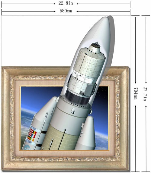 Amazing Creative 3D Rocket Wall Sticker