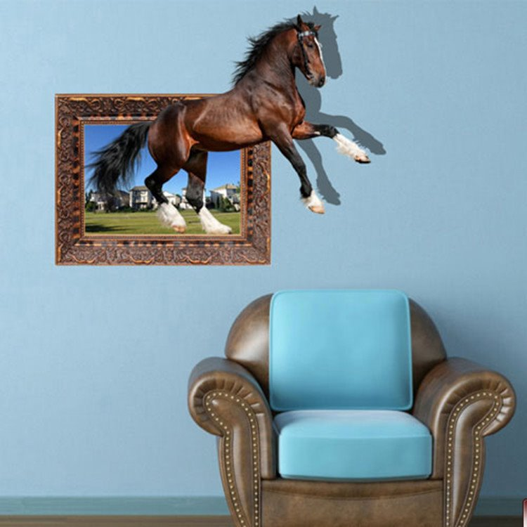 Amusing Creative Brown Horse 3D Wall Sticker
