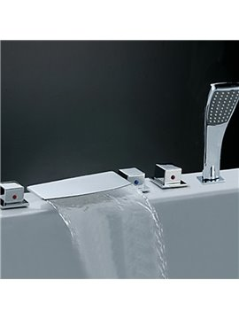 Simple Style Chrome Finish Waterfall Bathtub Faucet