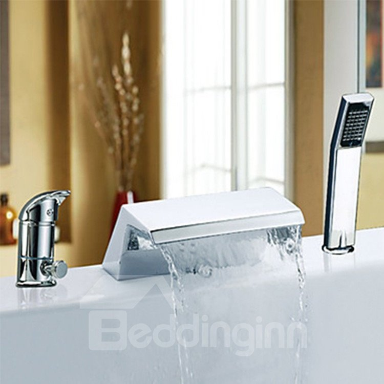 Two Handles Chrome Finish Widespread Waterfall Bathtub Faucet