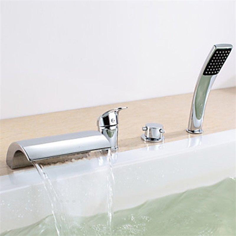 Chrome Finish Double Handles Four Holes Bathtub Faucet